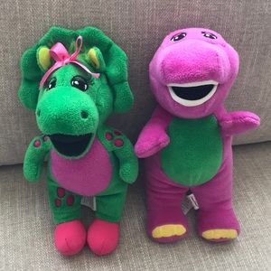 "Barney and Baby Bop 8"" Stuffed Animals"